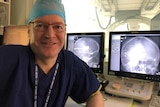 Dr Peter Foley in front of the angiogram suite in Canberra Hospital.