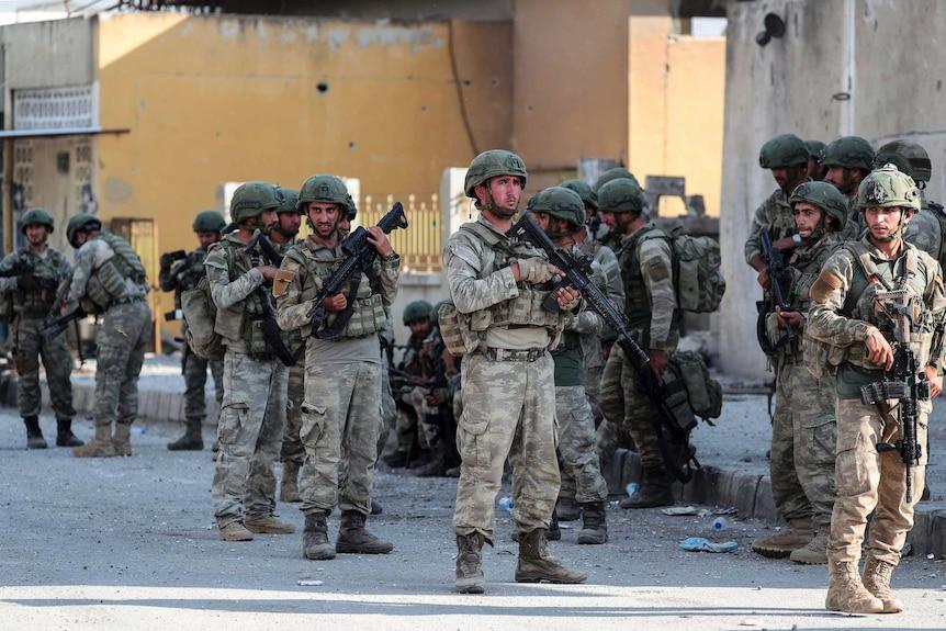 Turkish soldiers secure in Syrian town of Ras al Ayn