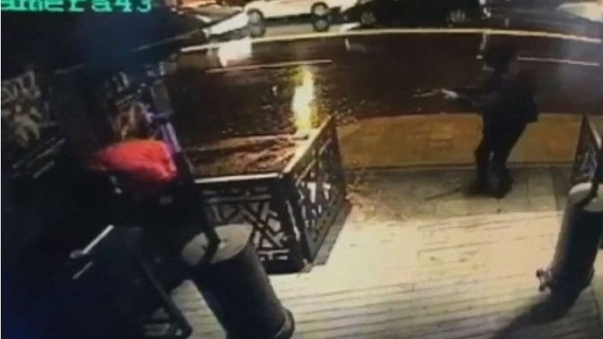 CCTV footage shows the attacker approaching the Reina nightclub
