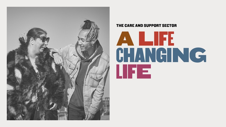 A black and whire image of a young man laughing with an older woman, next to colourful text saying 'a life changing life'.