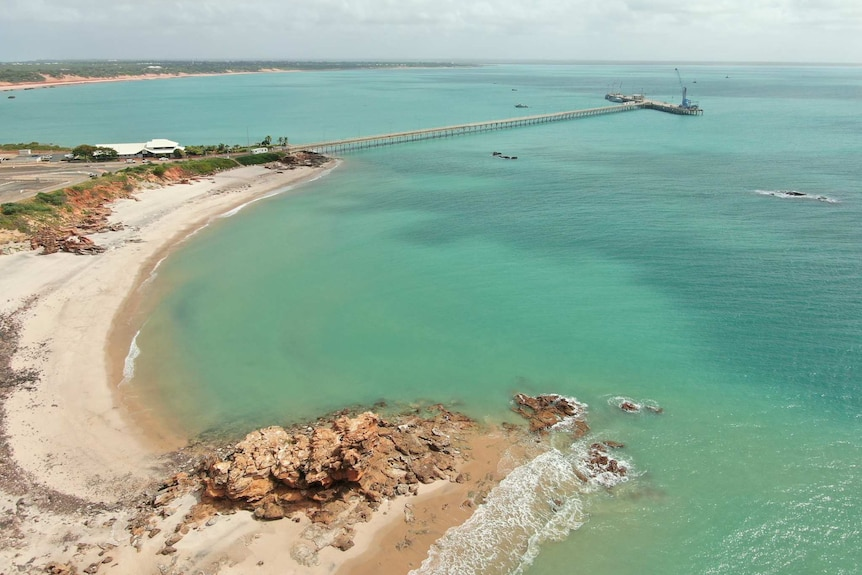 A beach next to the Broome jetty.