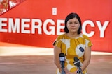 Health Minister Natasha Fyles has a serious expression as she stands outside the ER at RDH.