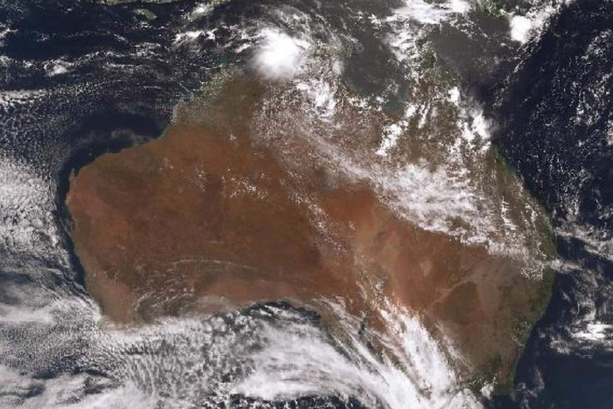 Satellite image of Australia showing clouds