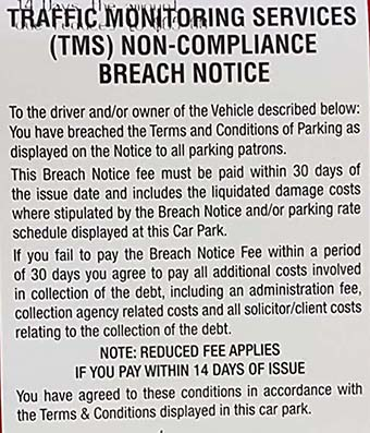A ticket notice left on a car at Inala Plaza Shopping Centre in Brisbane's south-west by Traffic Monitoring Services.