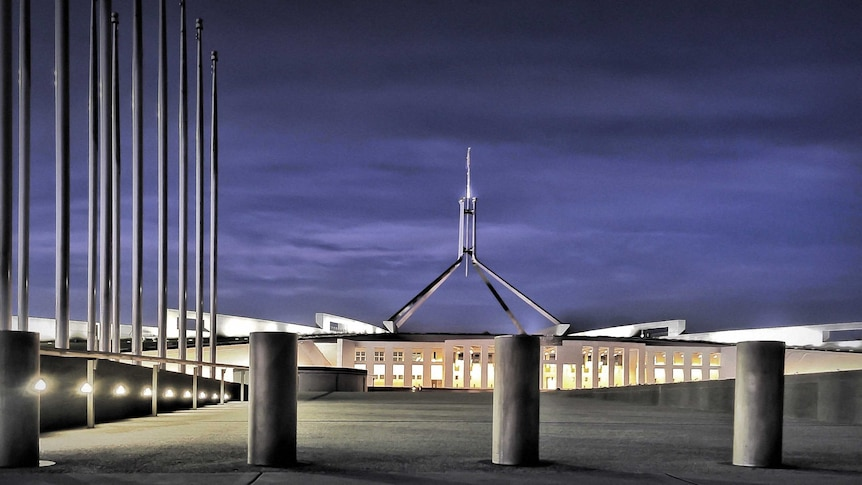 Bollards in front of Parliament House in Canberra.