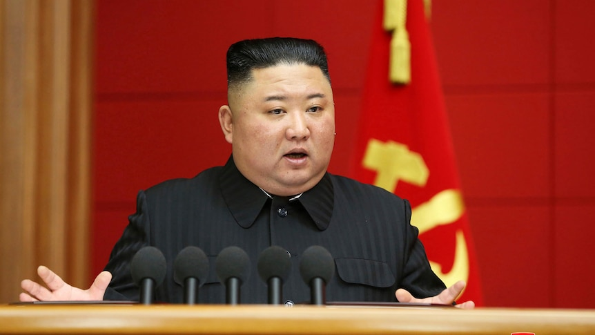 Kim Jong Un in front of a red background.
