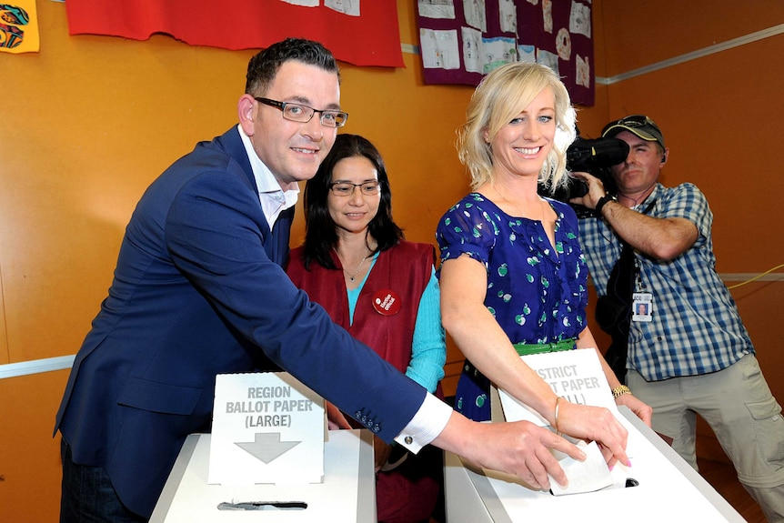 Daniel Andrews, the Victorian Labor leader and his wife Catherine vote on November 29, 2014 at Mulgrave.