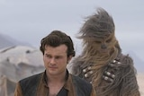 Han Solo and Chewbacca on set of Solo.