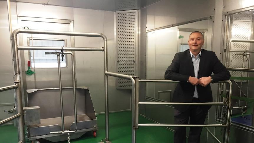 Dairy principal scientist Dr Joe Jacobs inside a climate-controlled calorimeter at Ellinbank, in Gippsland.
