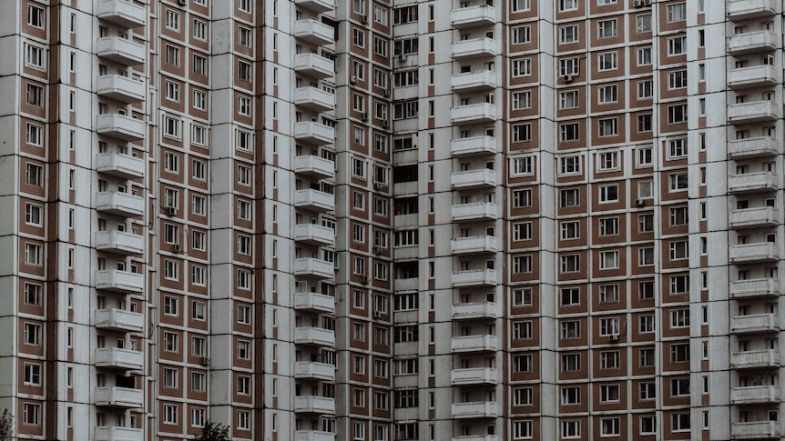 Rows of bland apartment buildings in Moscow.