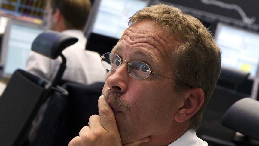 Trader reacts to falling German stocks
