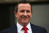 A close-up of WA premier Mark McGowan wearing a red tie.