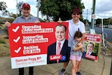 Duncan Pegg campaigning for Labor in Stretton electorate
