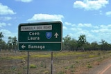 Road sign pointing to Coen or Bamaga on tip of Cape York Peninsula