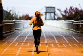 A woman runs