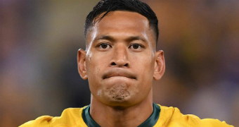 Israel Folau looks disappointed.