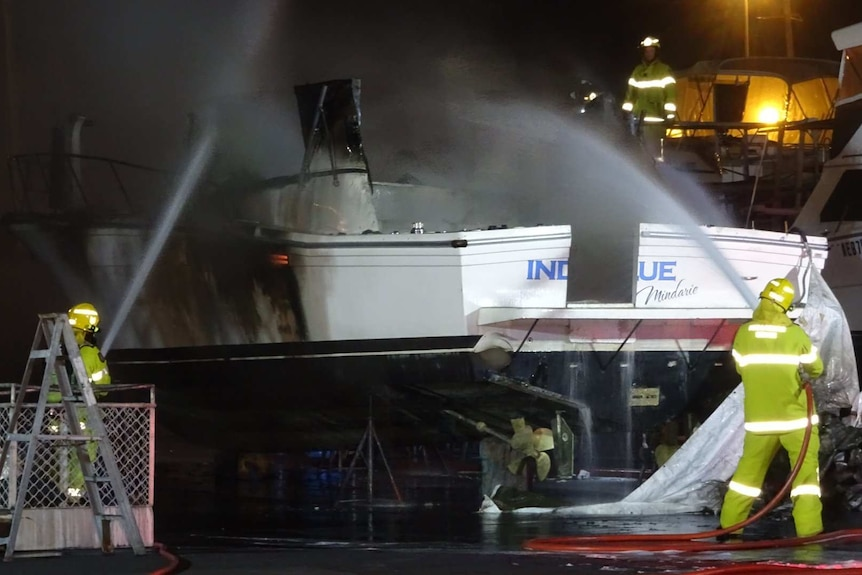 The second fire on a boat towed yesterday from Mindarie Marina.