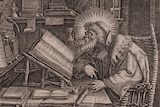 Etching of Saint Evagrius Ponticus immersed in his studies by Thomas de Lieu (1560-1612).