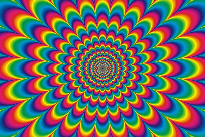 Image of rainbow colours radiating outwards to reference a psychadelic trip