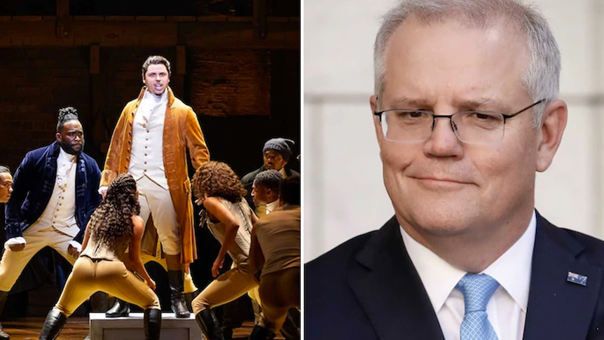 Side by side photos of the Hamilton cast on stage and Scott Morrison