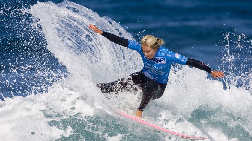 Stephanie Gilmore surfs at Bells Beach