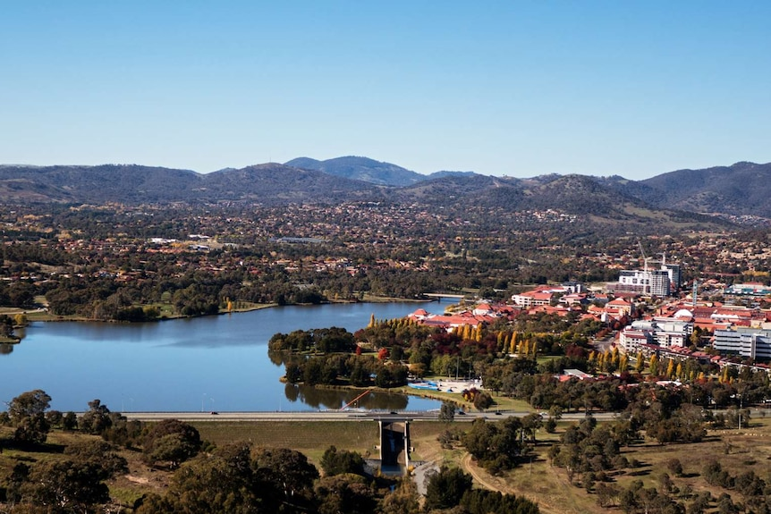 An aerial view of the Tuggeranong town centre and lake.