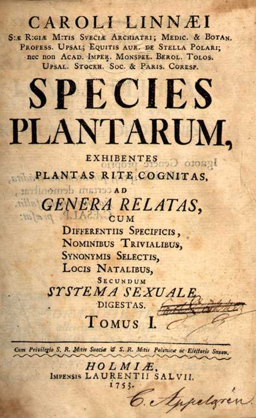 The title page of a book called Species Plantarum