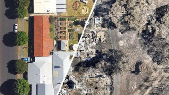 Composite image showing aerial photos of Yarloop properties before and after devastating bushfires.