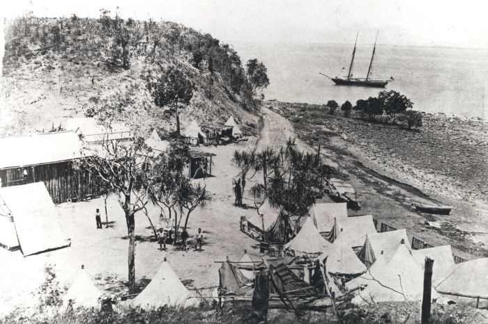 A settlers camp on the hills outside of Darwin.