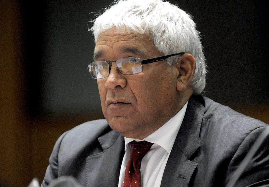 Aboriginal and Torres Strait Islander Justice commissioner Mick Gooda speaks at Parliament House, Canberra, October 2012.