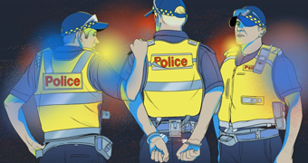 An illustration shows three police officers, one has his hands in cuffs