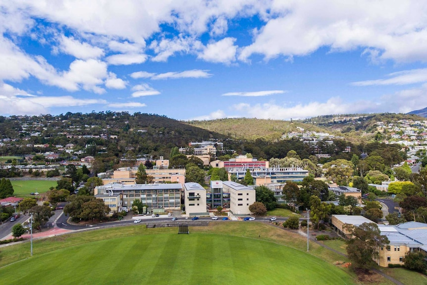 A shot of the University of Tasmania's Sandy Bay campus taken from the air.