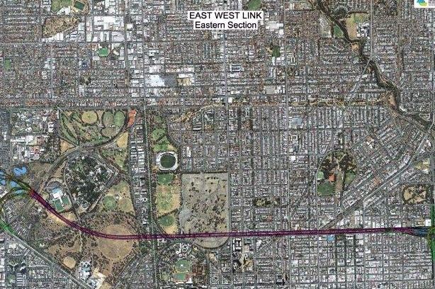 Aerial map view of first phase of East West Link