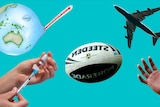 A needle, globe, football and plane on a green background.