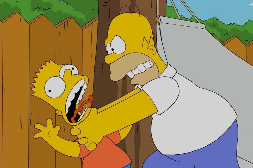 Homer strangles Bart in The Simpsons.