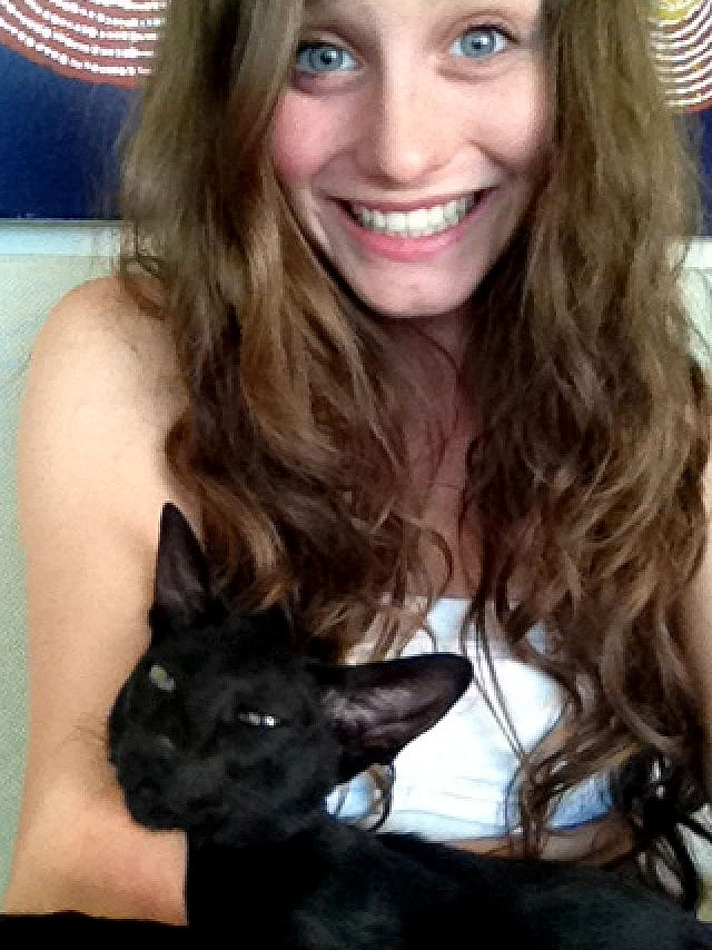 Spock the cat with owner Mia Shepherdson
