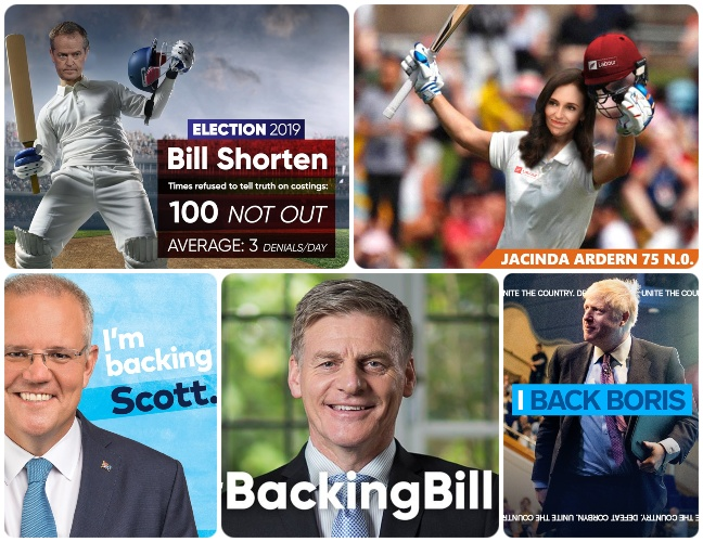 "Social media memes with Jacinda Adern and Bill Shorten playing cricket and the ""I'm backing"" slogan repeated."
