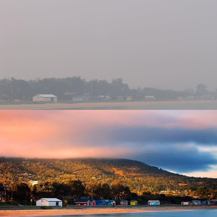 A composite image shows a picturesque Dromana beach under a pink sunrise or sunset, then covered in smoke.
