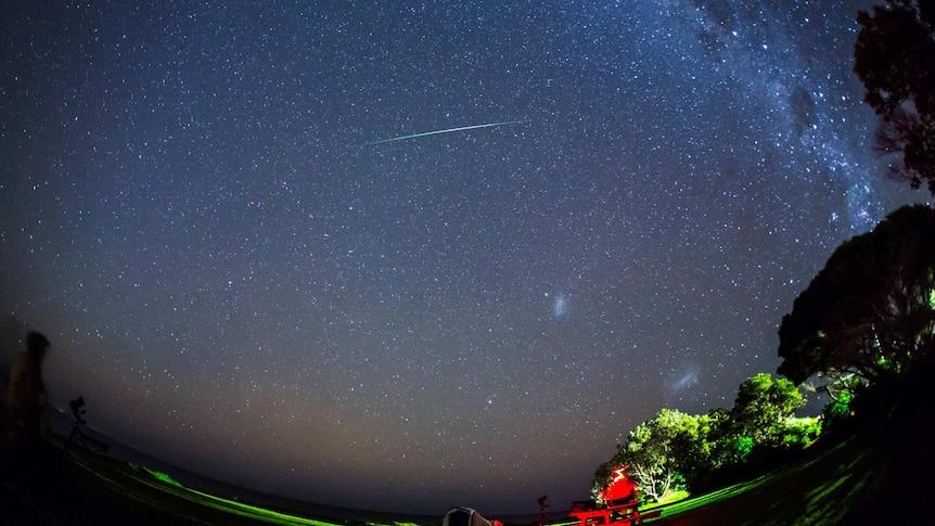 Eta Aquariid meteor streaks across the night sky