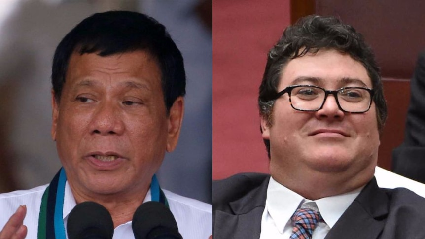 Composite of Rodrigo Duterte and George Christensen