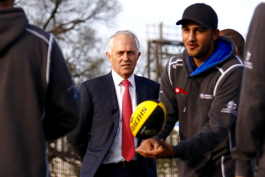 Malcolm Turnbull meets AFL players in Richmond