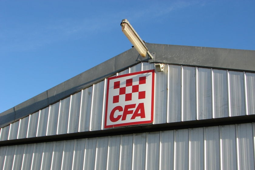A CFA sign at the top of a steel shed.