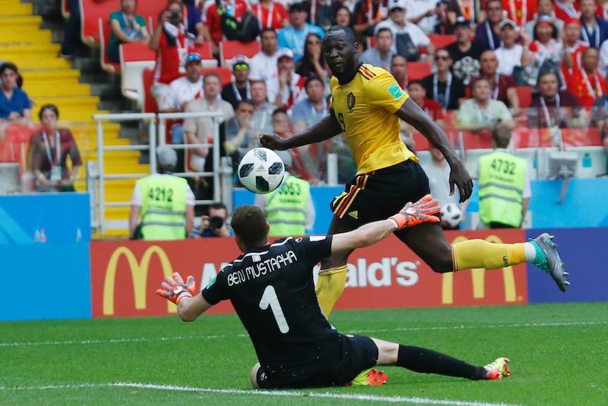 Romelu Lukaku scores against Tunisia