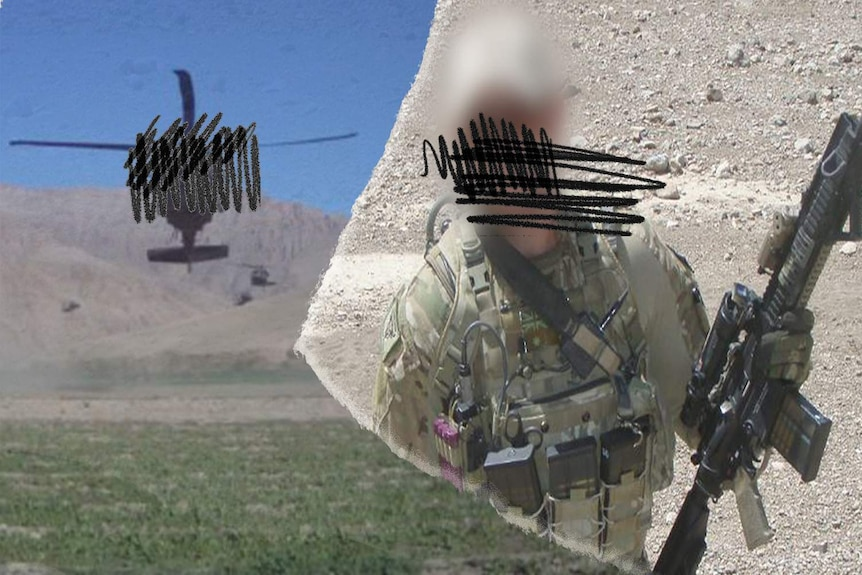 Composite of a soldier and a Black Hawk helicopter.