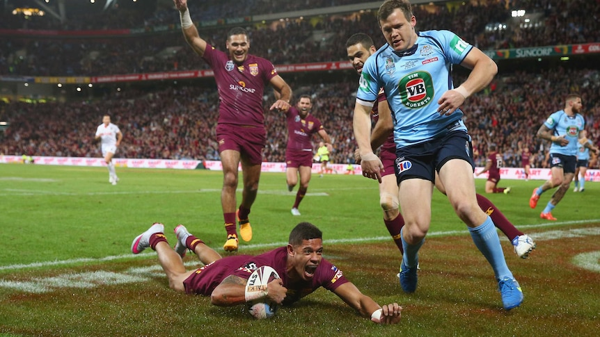 Gagai touches down for the Maroons in Origin III