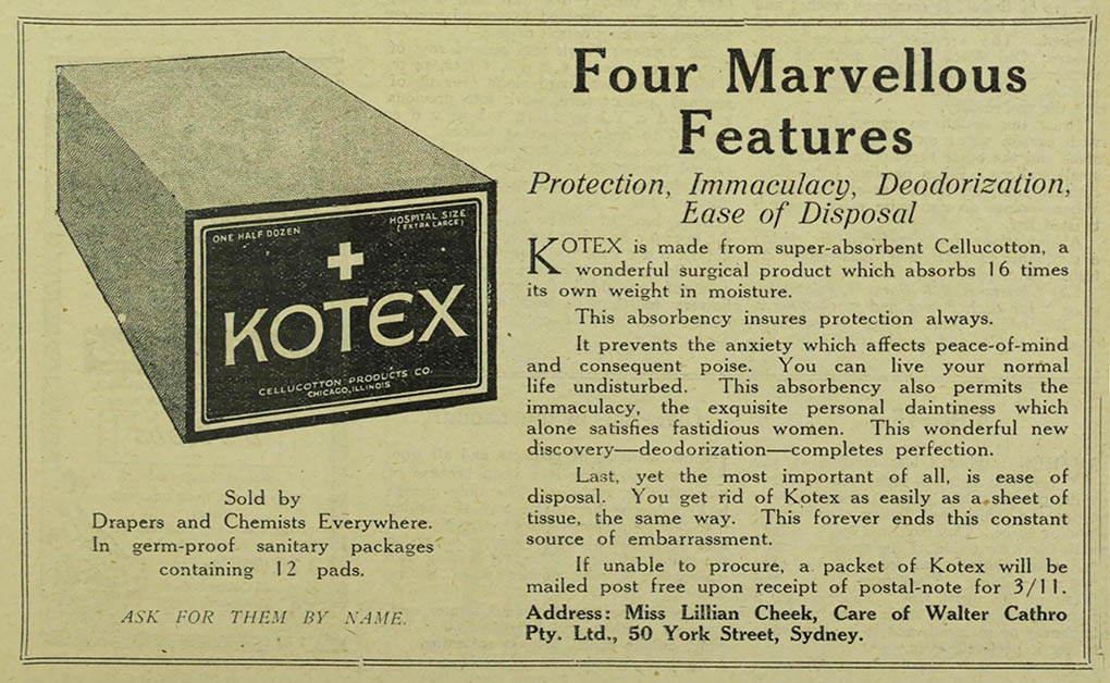 Old newspaper ad describing the features of Kotex pads