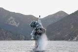 An underwater test-firing of a strategic submarine ballistic missile.
