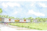 An artist's impression of the new inner west primary state school next with buildings next to an oval, surrounded by trees