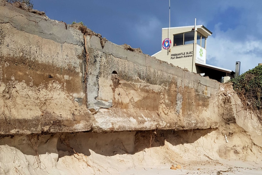 The carpark at Port Beach has been undercut by erosion.