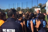 Vic Metro players gather at the youth girls football National Championships in Melbourne
